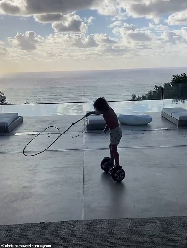 What a gift!  The estranged parents seem to have strewn a flying board for their toddlers, and an Indiana Jones-style whip, the boy was hovering around his head as he wandered around the backyard