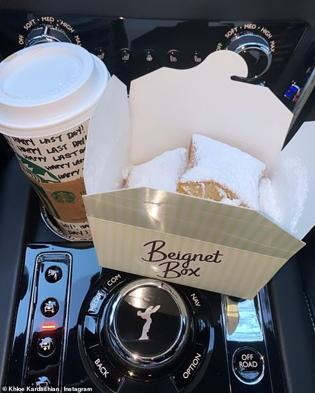 Care Package: The family was treated with a Beignet Box truck as Chloe appeared to indulge in sweets despite a strict exercise schedule