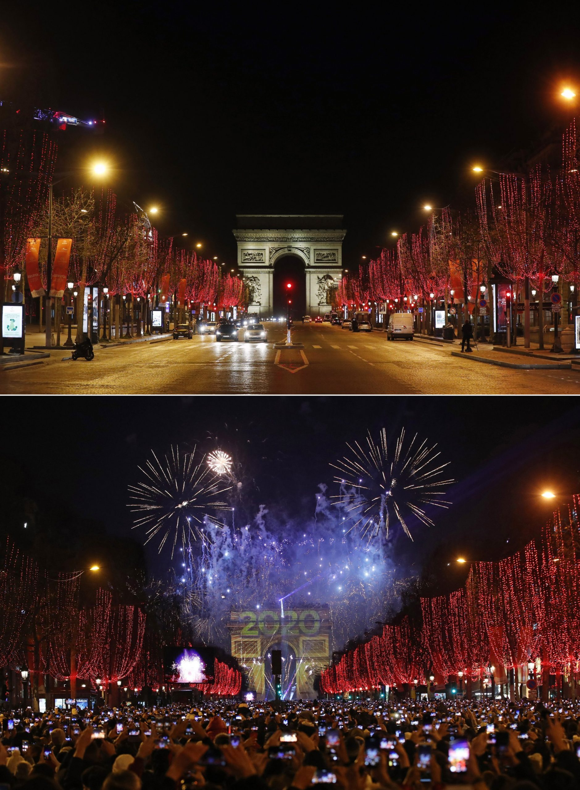 Previous and current photos show the contrast for New Year's Eve