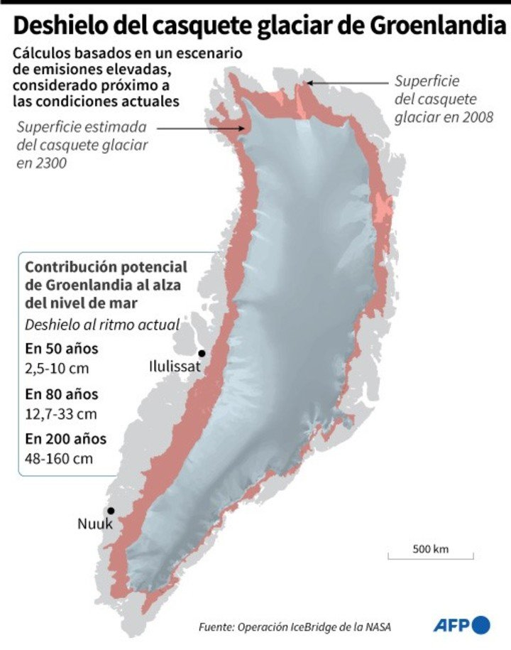 Map of the Greenland ice sheet location and extent in 2008 estimate for 2300.