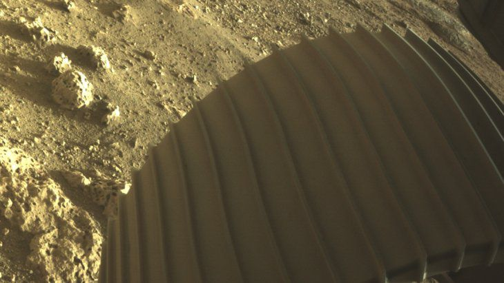 The rover's footprint on the red planet.