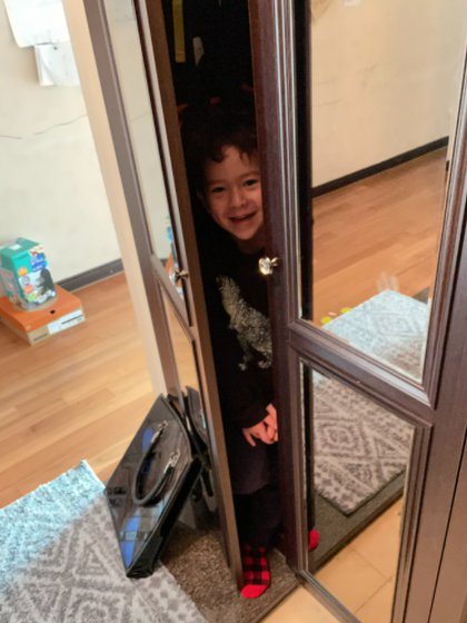 James, the little kid with a walker, grew up showing his dad a tender moment as he hid in the locker so he didn't go to kindergarten Photo: (Robert_E_Kelly)