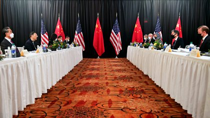 The American and Chinese delegations are meeting in Alaska (Frederick J. Brown / Paul via Reuters)