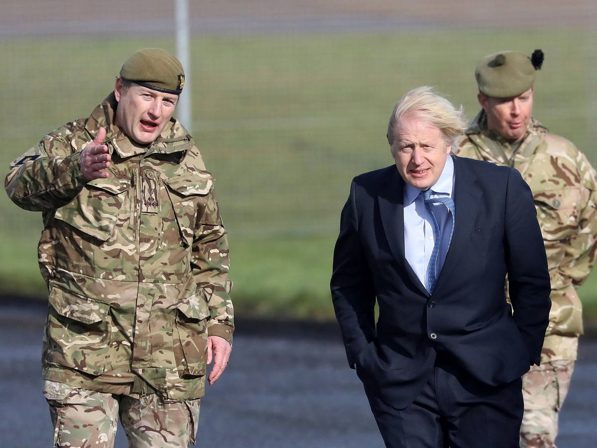 Pictured: British Prime Minister Boris Johnson during a visit to Northern Ireland.  (Reuters)