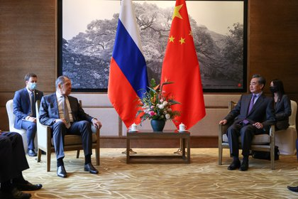 Russian Foreign Minister Sergei Lavrov attends a meeting with State Councilor and Chinese Foreign Minister Wang Yi in Guilin, China (Reuters)