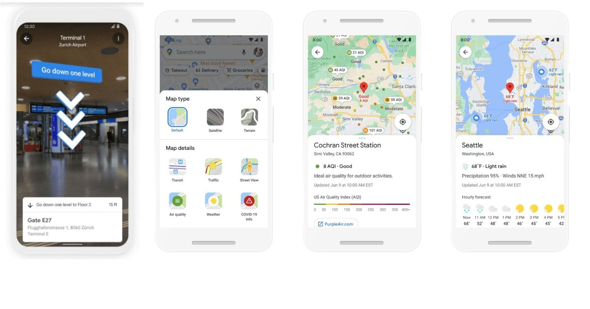 The news that has reached Google Maps: indoor augmented reality, environmental routes and weather data