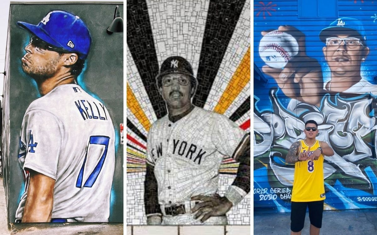 A mixture of street art and baseball