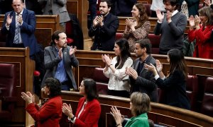 The leader of United We Can, Pablo Iglesias, was praised after his intervention this Tuesday in Congress, as the third day of Pedro Sanchez's inauguration as prime minister is taking place.  EFE / Mariscal