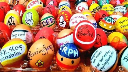 Eggs with messages of peace, aid, and protest against the military regime