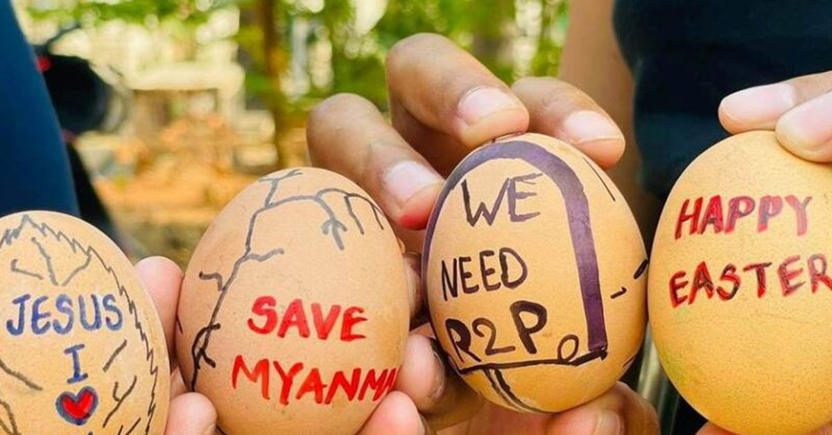 """The """"Easter Egg Strike"""" turns the protests against the Myanmar junta"""