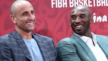 Kobe Bryant and Manu Ginobili together witnessed Argentina's victory over France in the last Basketball World Cup