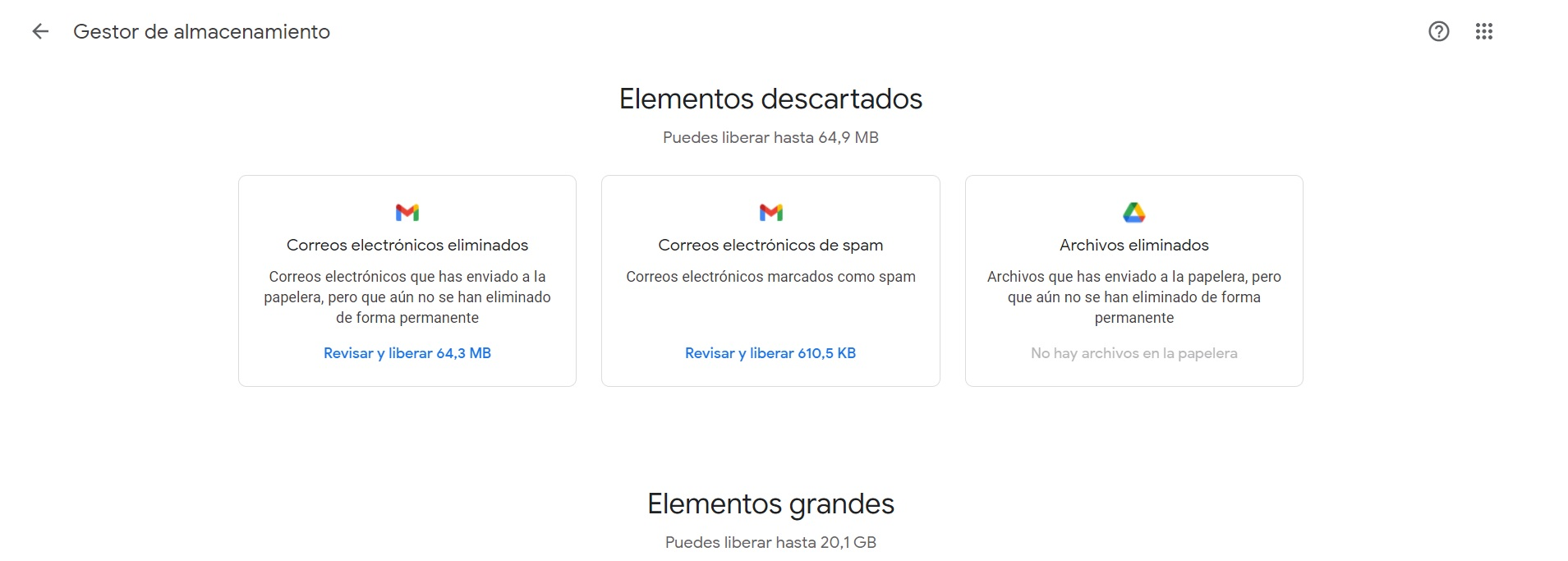 This is how Storage Manager displays information in Google One