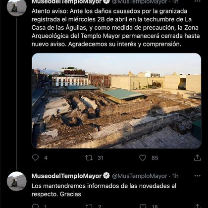 As a precaution, Templo Mayor will be closed to the public (Image: Screenshot from TwitterMusTemploMayor).