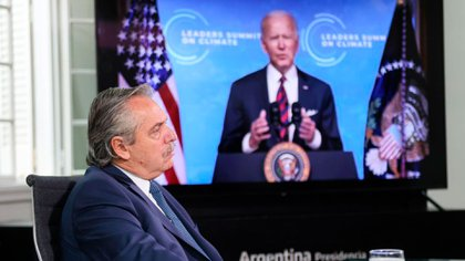 Alberto Fernandez listens to Biden.  That was at the start of the Leaders Summit