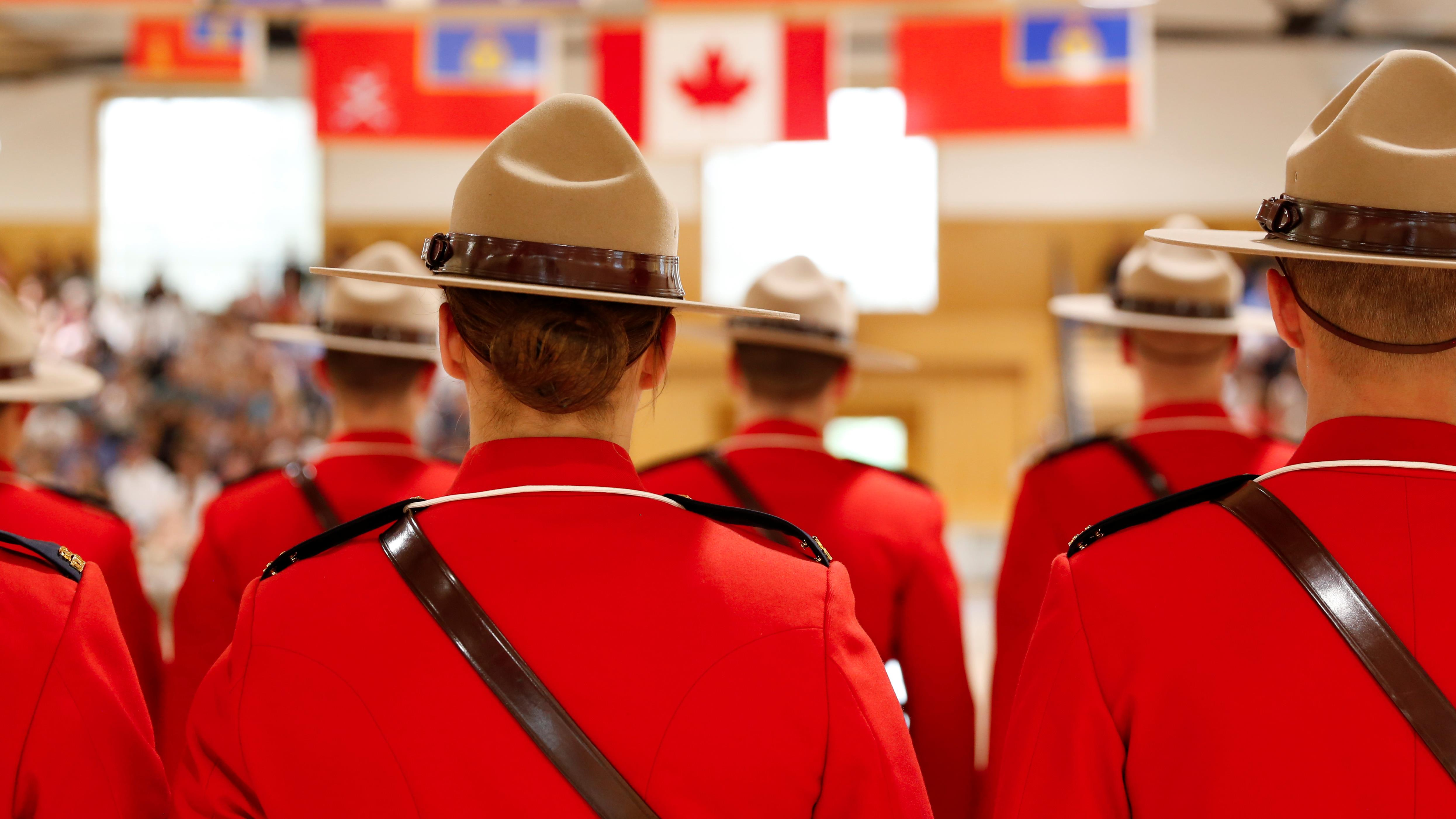 Royal Canadian Mounted Police cadets at the Regina Training Center.