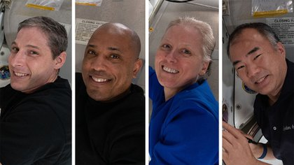 American astronauts Michael Hopkins, Victor Glover, Shannon Walker and Japanese Soishi Noguchi, the so-called SpaceX Crew-1 crew returning from the International Space Station to celebrate the end of Elon Musk's first full commercial mission in partnership with NASA, out of a total of six