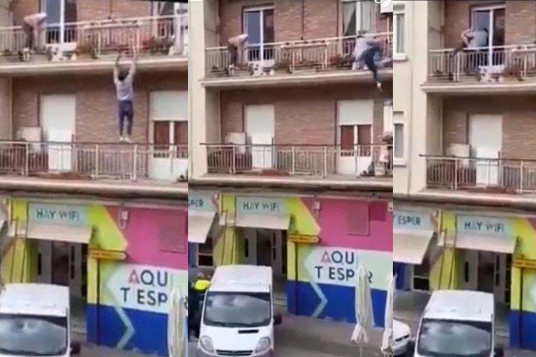 Video: Climbing balconies to save an 80-year-old woman from falling into void