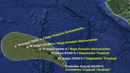 Path of Tropical Storm Andres for May 10.  The red dot indicates the current state of the hurricane and the white situation for the next few days.  As can be seen on the map, it will be moving away from Mexican territory (Photo: SMN / Conagua Clima)