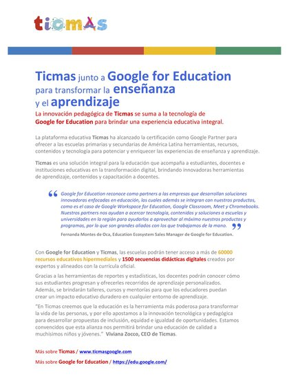 Joint statement by Ticmas and Google