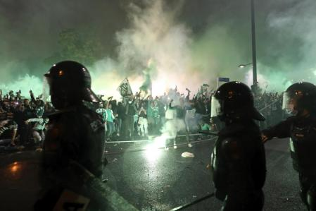 Sporting de Portugal fans celebrate the league title in the streets of Lisbon.