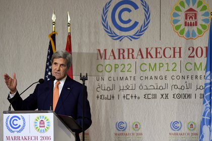 Former Secretary of State John Kerry speaks at the Marrakesh Climate Summit in Morocco.  (Reuters / Mark Ralston)