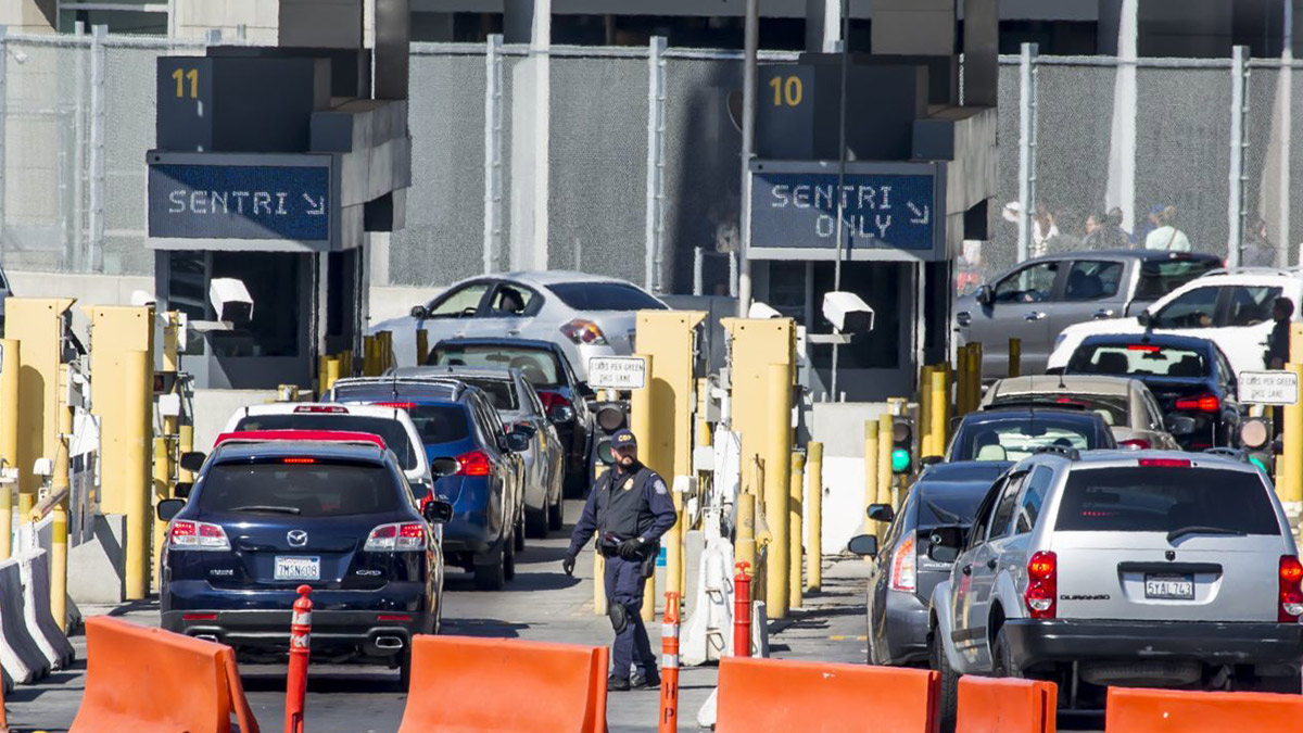 The United States restricts travel across the land borders with Mexico and Canada