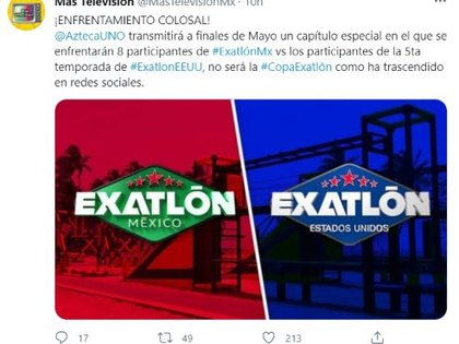 """According to More Television, the former participants of """"Axelon Mexico"""" They will face off in a special program against members """"Exatlón United States"""" (Image: TwitterMasTelevisionMx)"""