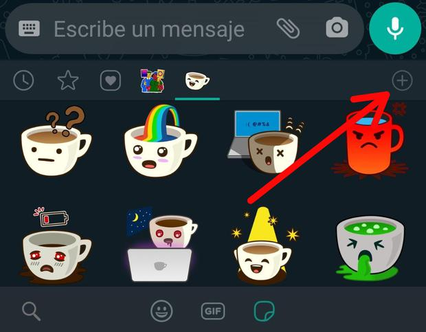 (Image: Cross icon circled to download stickers)
