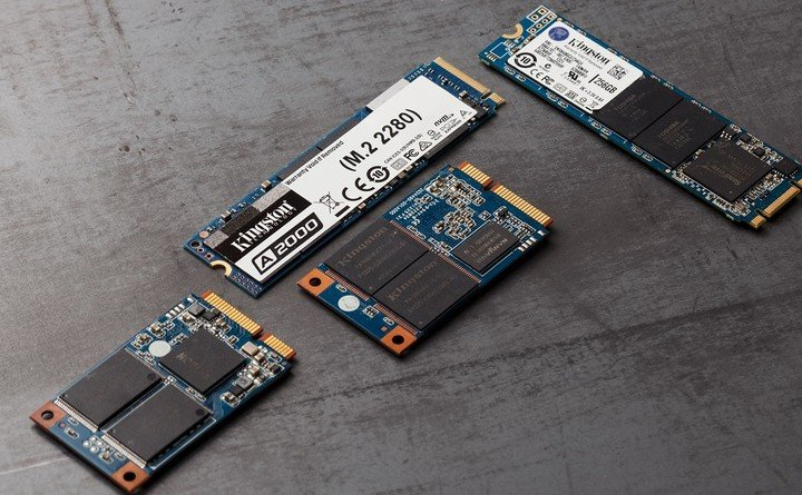 Solid state drives in SATA and NVMe formats.  Kingston pictures