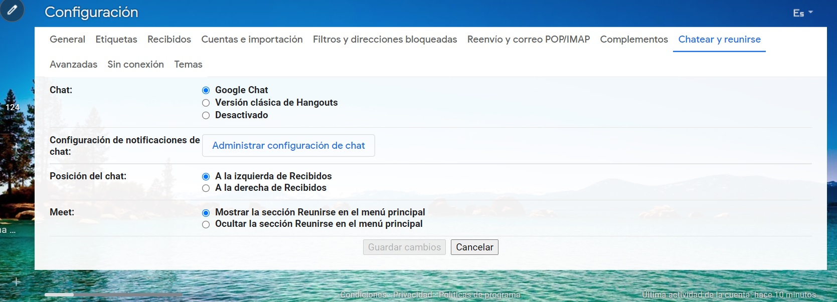 To activate Google Chat, you have to go into the settings menu of your Google account