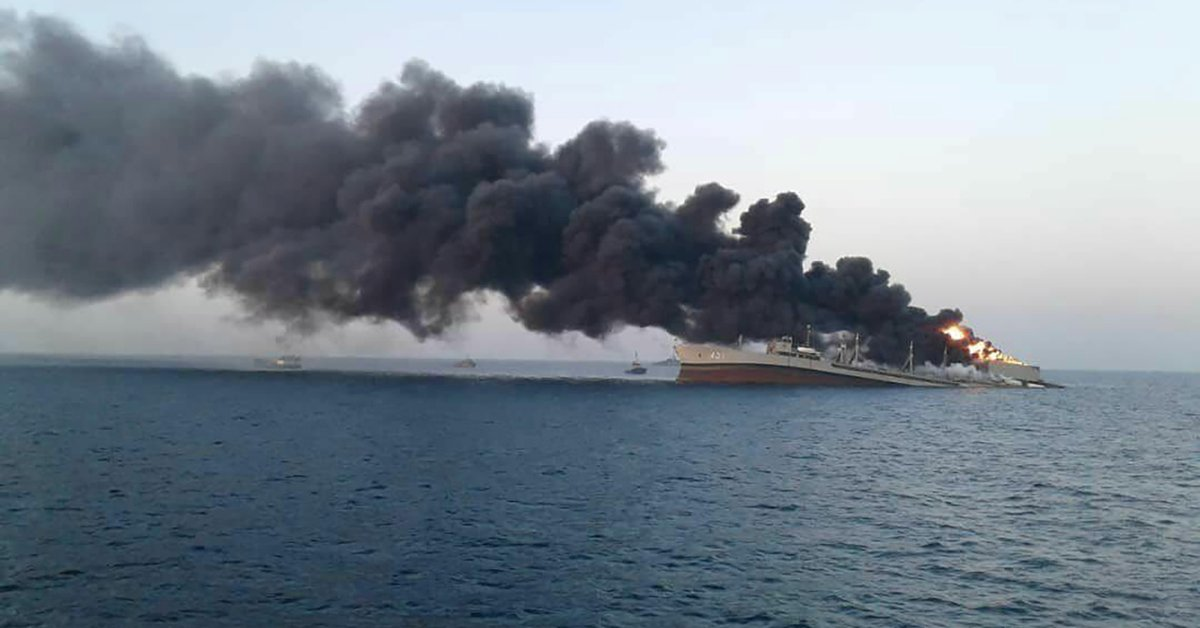 The largest ship of the Iranian Navy sank after it was exposed to a fire in the Gulf of Oman