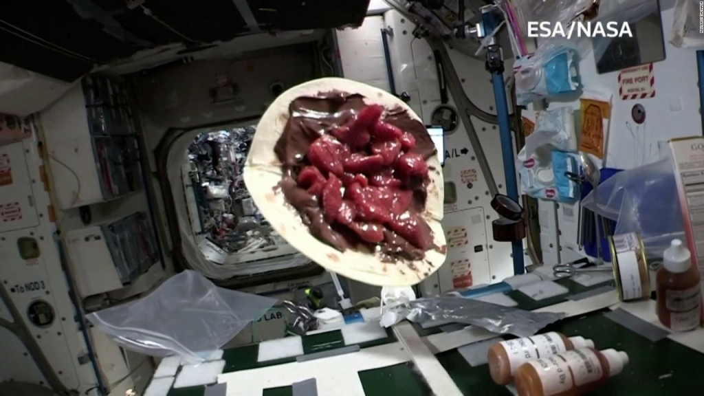 Watch this strawberry pie float in space