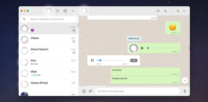 Acceleration of audio from the desktop version