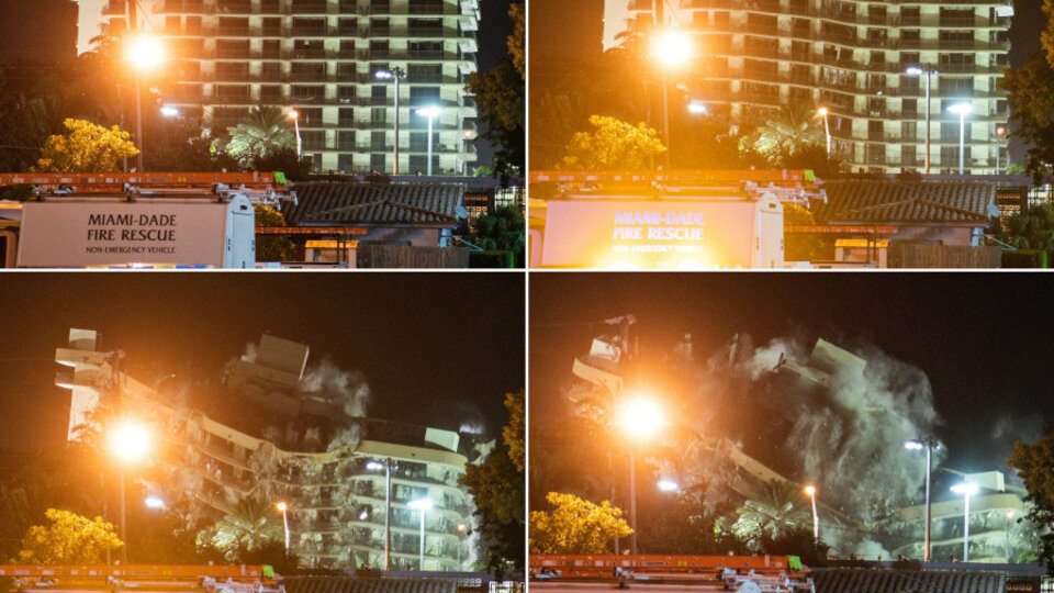 Miami: Champlain Towers building demolished by explosion |  Before Storm Elsa arrives