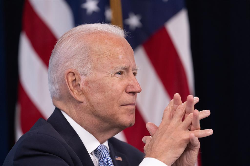 """United States of America.  Biden describes the economic recovery of the United States as a """"historic progress"""""""
