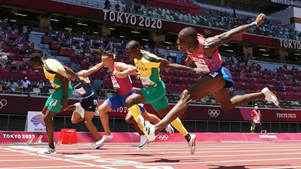 Hansle Parchment of Jamaica wins gold in 110m hurdles