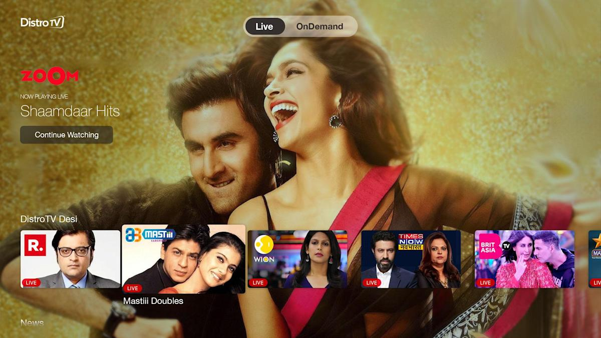 AVOD Service DistroTV launches 'Desi' package in North America and UK with over 15 channels in South Asia