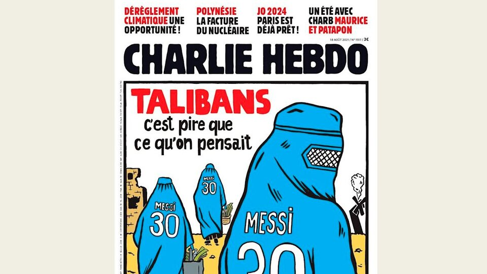 Messi, the Taliban, the burqa and Qatari money on the new cover of Charlie Hebdo    The satirical magazine raises the financing of the fundamentalist group