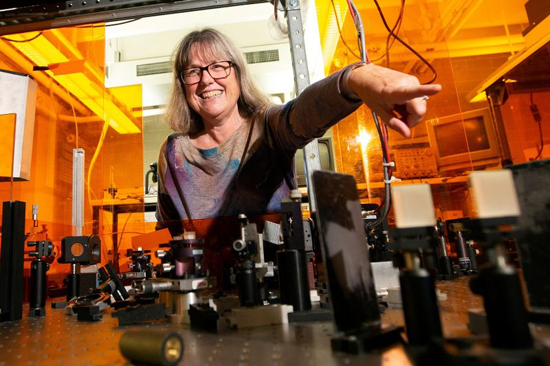 Donna Strickland, associate professor at the University of Waterloo, is photographed in her lab after a press conference, after winning the Nobel Prize for Physics, at the University of Waterloo