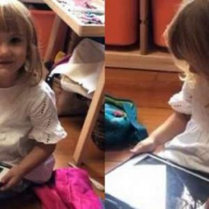 A little girl asks the Apple assistant to help her pick up her toys