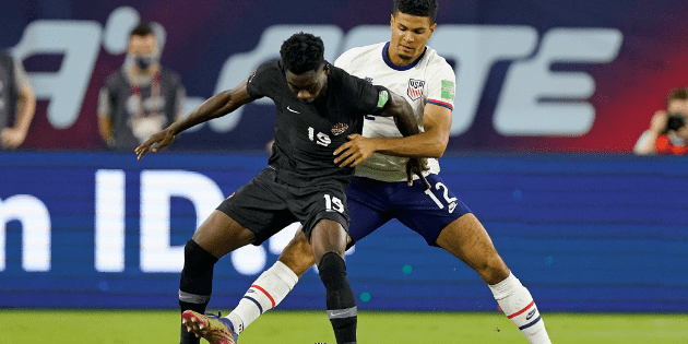 Alphonso Davies was injured in the match between Canada and the United States