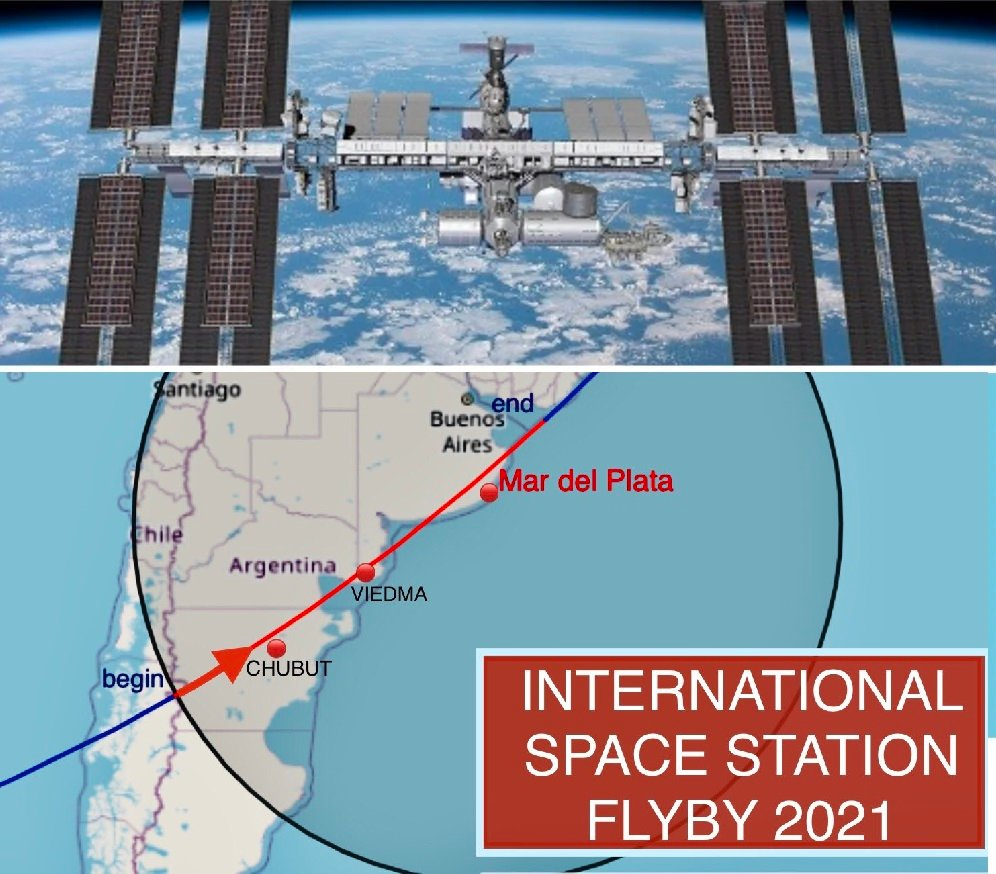 NASA's International Space Station will pass over Mar del Plata today.