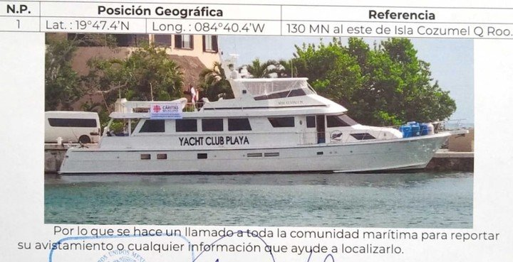 Asking for help in finding the missing yacht in the Caribbean, where there are two Argentine crews.  They were going to provide community assistance to Haiti.