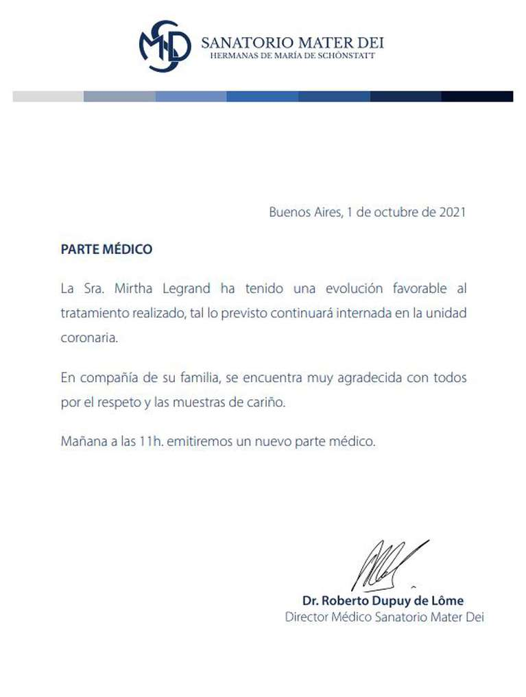 The second medical part of Mirtha Legrand confirms that it is developing positively.  (Photo: Mater Day).